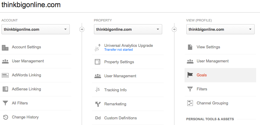Google Analytics Click Goals image by Think Big Online